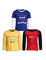 Goodway Pack of 3 Boys Full Sleeve Colour T-Shirts Mom & Dad Theme-4-9-10Years