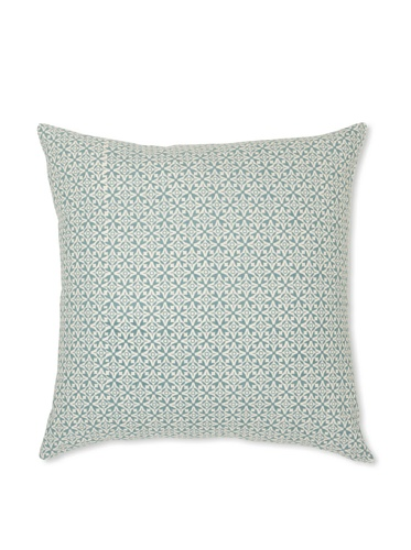Handmade Interiors Nila Hand Screen Pillow Cover, Duck Egg Blue