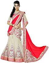 Khodiyar Creation Women Faux Georgette Lehenga Saree Lehenga Cholis 3306-Red (_Red _Free Size)