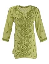 Lucknow Chikan Industry Women's Cotton Regular Fit Kurti (Lci-337, Green, M)