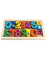 PIGLOO Wooden Number Set in Wooden Frame Box for Kids Ages 3+ Years