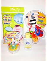 Bundle: Baby Bodywash-Wipes-Teether-Disposable Bibs