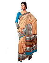 Orbymart Exclusive Designer Raw Silk Orange Printed Saree - 55247866