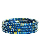 DollsofIndia Blue Lac Bangles with Foil Paper - Lac and Foil Paper - Blue