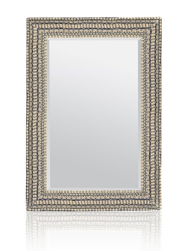 Made Goods Marion Embroidered Fabric-Based Mirror (White/Navy)