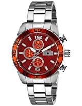 Invicta Men's Quartz Watch with Orange Dial Chronograph Display and Silver Stainless Steel Bracelet 21568