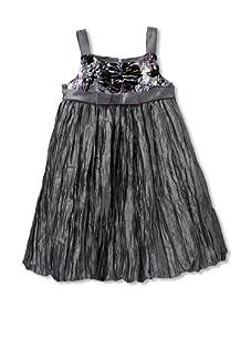 Marmellata Girl's Crinkle Sleeveless Dress (Silver/Grey)