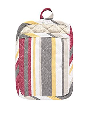 KAF Home Striped Pot Mitt, Pewter/Cherry