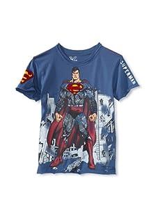 Kid's Republic Boy's Stay Put Superman T-Shirt (Steel Blue)