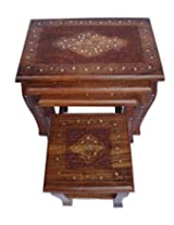 Onlineshoppee Carved Set Of 4 Tables ( Brown, Height - 18 Inches , Width - 12 Inches , Depth - 16 Inches )