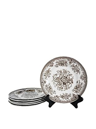 Set of 6 Asiatic Pheasants Salad Plates, Brown/Cream
