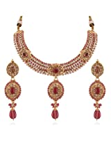 Variation Party Wear Pink Stone AD Necklace Set [Jewellery]