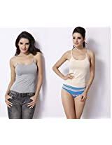 Curves n Shapes Women's Camisoles pack of 2 (Grey, Beige, X-Large)