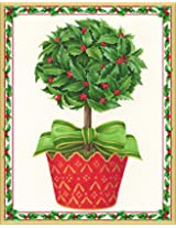 Entertaining with Caspari Holly Topiary Christmas Cards (Box of 16)
