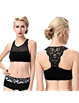 BJAC Net Stretchable Crop Tops / Blouse / Tank Top / Cut Out Padded Bra Black (removable pads) (B, Black) + Fancy Earring Pair Free (Diwali Offer)