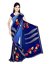Sonal Trendz Blue Color Printed Georgette Saree with Blouse