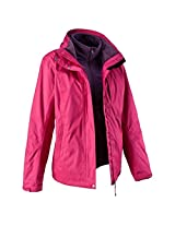 QUECHUA ARPENAZ 300 RAIN WOMEN'S WATERPROOF 3 IN 1 JACKET - PINK (M)