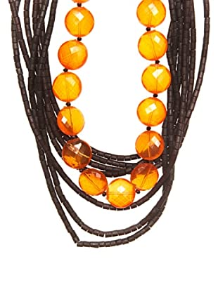 Lola Casademunt Collar Maderitas Naranja Única