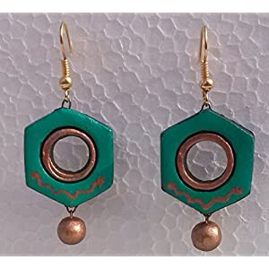 Petals Of Earth Terracotta Teal And Gold Hanging Earrings
