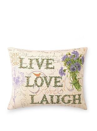 "Kathryn White Live Love Laugh Pillow, Green/Violet, 14"" x 18"""