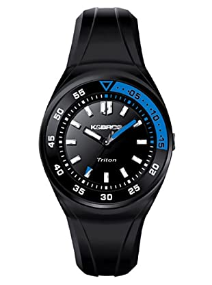 K&BROS 9475-1 / Reloj de Caballero  con correa de caucho Negro / Azul