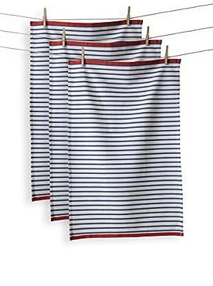 KAF Home Set of 3 Hampton Stripe Towel, Bijou Blue