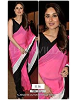 Bollywood Replica Kareena Kapoor Georgette Saree In Pink And Black Colour Nc501