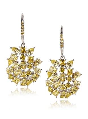 CZ by Kenneth Jay Lane Yellow Scatter Stones Drop Earrings