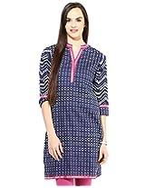 Jaipur Kurti's Pure Cotton 3/4 Sleeve Indigo Kurti