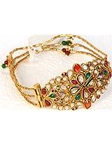 Tri-Color Polki Cut Glass Bracelet with Screw Clasp - Copper Alloy