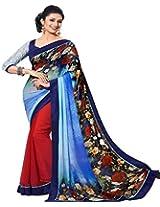 Pagli blue with red half-half Saree