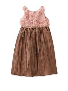 C'est Chouette Couture Girl's Rosembique Dress (Champagne)