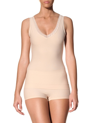 Nearly Nude Women's Smoothing Cotton V-Neck Cami With Lace (Toasted Almond)