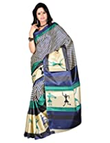 Alethia Black & Green Art Silk Casual Wear Printed Sarees Without Blouse Piece