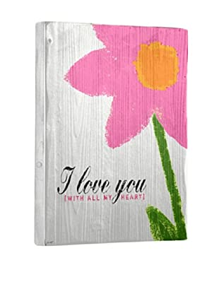 Lisa Weedn I Love You Pink Flower Reclaimed Finished Wood Portrait