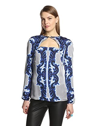 Bibhu Mohapatra Women's Printed Open Neck Top (Cobalt/Steel)