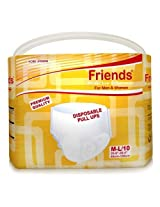 Friends Disposable Pull-ups - Medium-Large - Case of 10 pull-up packs (100 total)