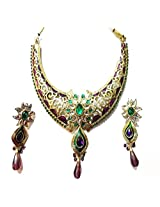 Sneh Finely Featured Kundan & Enamelled Necklace Set For Women