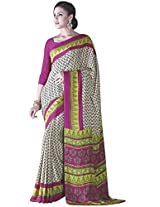 Vibes Women's Crepe Silk Saree With Blouse (S6-4006_Multi Colour)