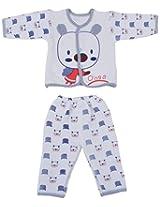 Kuchipoo Baby Winter Wear Dress (White & Blue, 0 to 6 Month)