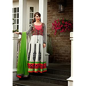 Multi Colored Frock Style Resham Embroidered Fashionable Anarkali Salwar Suit Traditional Wear