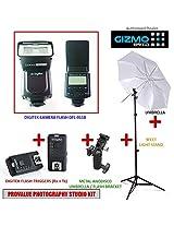 Photography Studio Kit with all Essentials Supports all DSLR Cameras Canon, Nikon, Sony, Panasonic, Pentax (Speedlite Camera Flash, Triggers, Umbrella, Bracket & Light Stand) [ GizmoGird ]