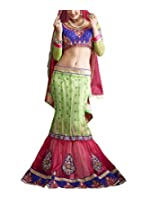 Shree Balaji Syntheticas Women's Net Zari Lehenga Saree (Green)