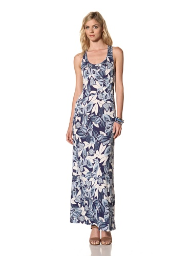 Thakoon Carbon Copy Women's Seamed Pocket Orchid Print Maxi Dress (Ink/White)