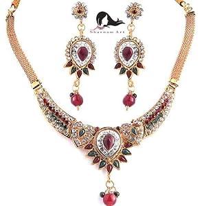 Sharnam Art M-105-N Necklace Sets-Green