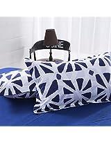 3 Or 4pcs Polyester Fiber Blue White Reactive Dyeing Bedding Set Full Size
