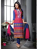 Fabfirki Pink and Blue Unstitched Cotton Salwar Suit