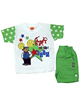 Boogie Woogie Yok-810-G Boy's Cotton T-Shirt & Shorts Set - (Green) - (Size - 18)