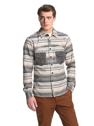 PRPS Goods & Co. Men's Horizontal Striped Flannel Shirt (Beige)