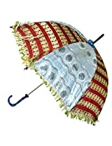 Indian Traditional Aesthetically Embroidered Sequins work Silk Umbrella Parasol (30 X 34)